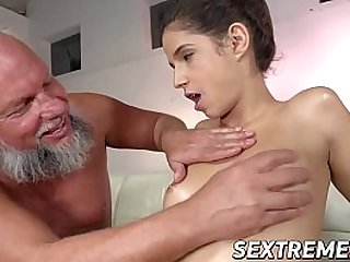 Old and young cowgirl before cumshot