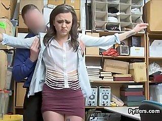Teen shoplifter ass fucked in the office