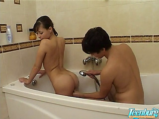 Japanese legal age teenager screwed in baths