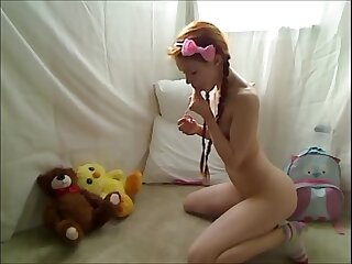 Hot Teen Redhead Dolly Little Masturbating in Footie Pajamas