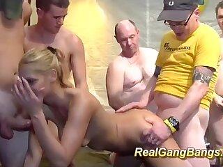skinny german in wild gangbang orgy