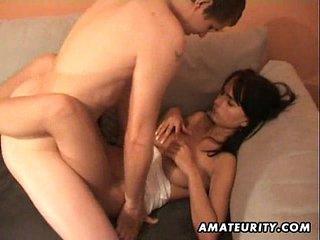 Busty amateur girlfriend homemade hardcore action
