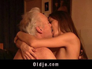 Gorgeous young girl ass fuck and swallow old man cum