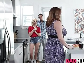 Busty milf with big tits Maggie Green and sexy teen Chloe Temple pleasing the studs throbbing boner