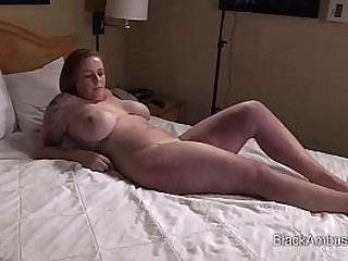 White Amateur with Huge Tits Gets A Big Black Cock Surprise