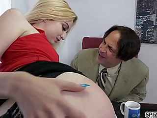 Young Lexi Lore fucking two big dicks, small tits, bubble butt and step dad