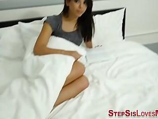 Latina teenage stepsister fucks big cock and masturbates in hd